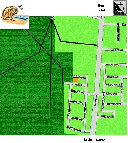 Zeichnung: Karte Umgebung Rowy
